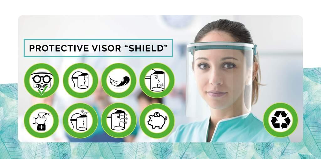 RICAMBIO VISIERA PROTETTIVA KIT 5 PZ SHIELD MASK PP PET-TEAL GREEN TRASPARENTE DPGR1-21